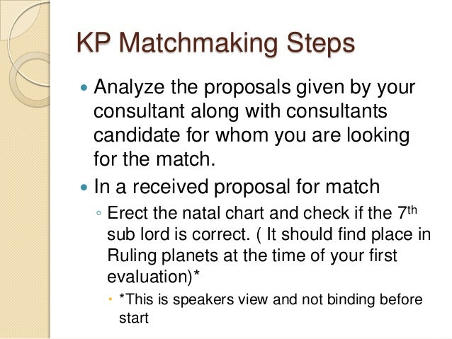 KP Matchmaking Steps  Analyze the proposals given by your consultant along with consultants candidate for whom you are lo...