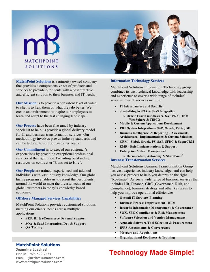 MatchPoint Solutions is a minority owned company         Information Technology Servicesthat provides a comprehensive set ...