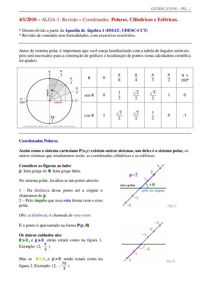 GUIDG.COM – PG. 14/1/2010 – ALGA-1: Revisão – Coordenadas: Polares, Cilíndricas e Esféricas.* Desenvolvido a partir da Apo...