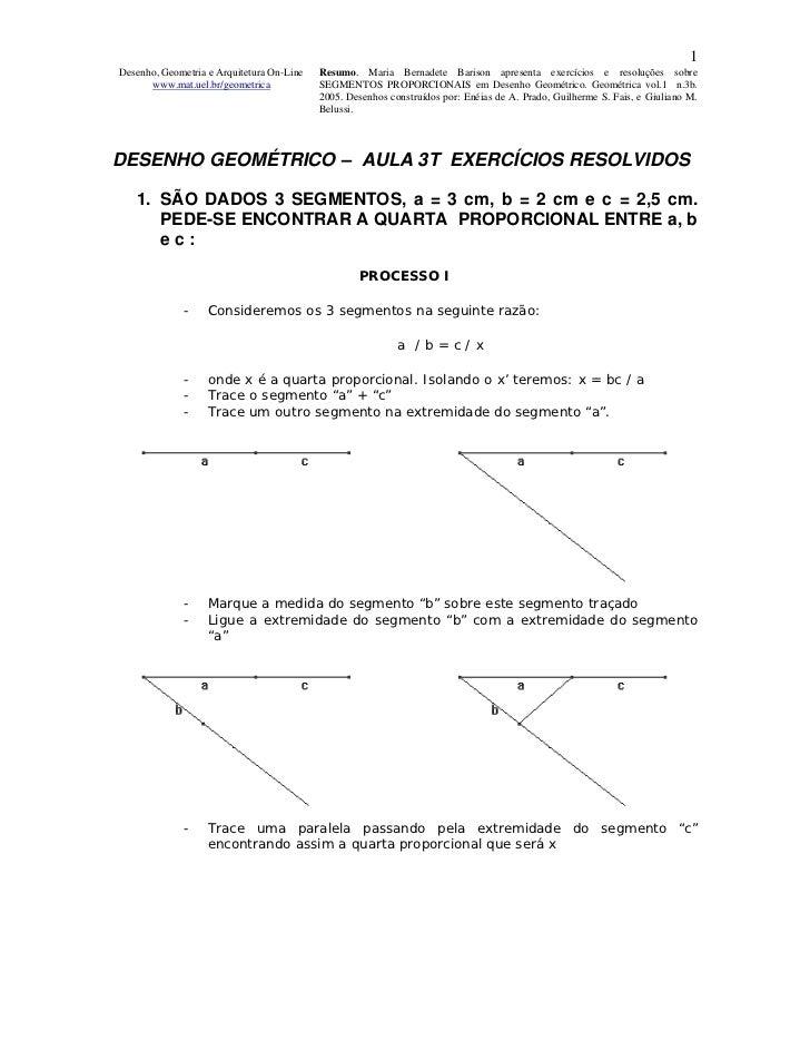 1Desenho, Geometria e Arquitetura On-Line   Resumo. Maria Bernadete Barison apresenta exercícios e resoluções sobre      w...