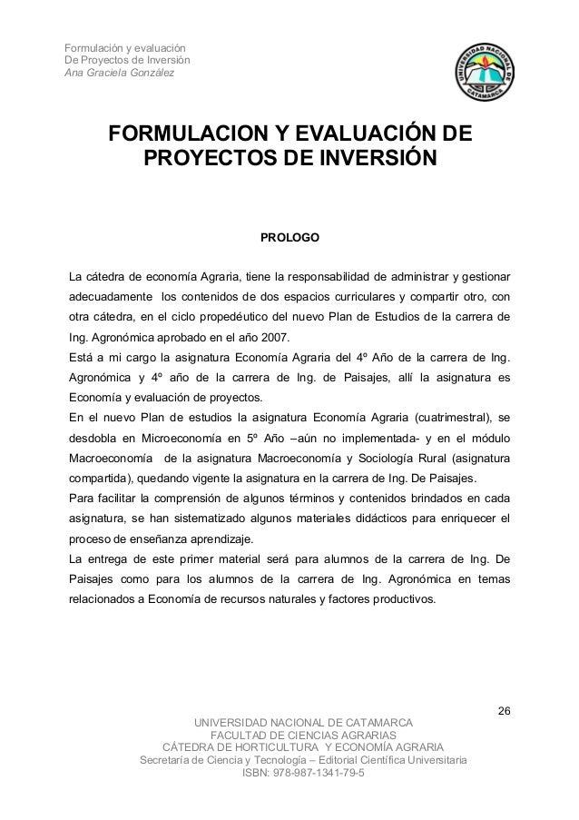 Formulación y evaluaciónDe Proyectos de InversiónAna Graciela González        FORMULACION Y EVALUACIÓN DE          PROYECT...