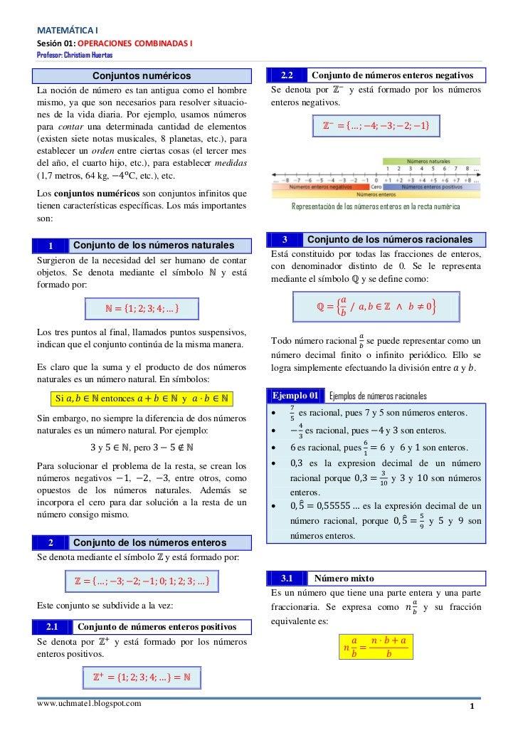 MATEMÁTICA ISesión 01: OPERACIONES COMBINADAS IProfesor: Christiam Huertas                   Conjuntos numéricos          ...