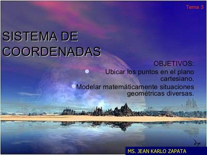 SISTEMA DE COORDENADAS <ul><li>OBJETIVOS: </li></ul><ul><li>Ubicar los puntos en el plano cartesiano. </li></ul><ul><li>Mo...