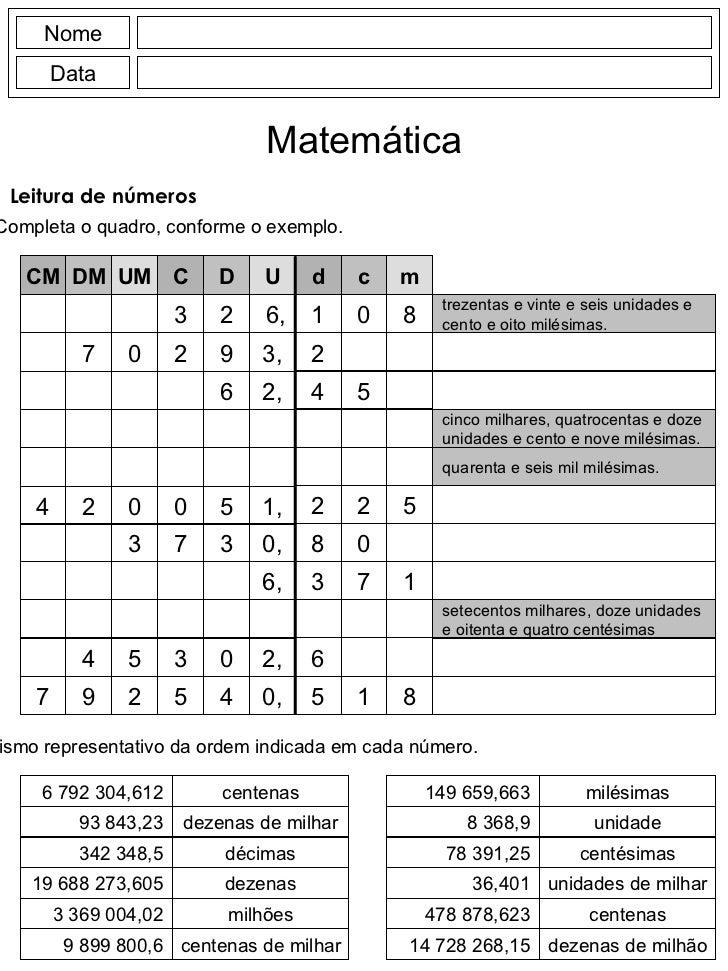 Nome Data Matemática Leitura de números <ul><li>Completa o quadro, conforme o exemplo. </li></ul>d c m 1 2 4 0 5 8 2 2 5 C...