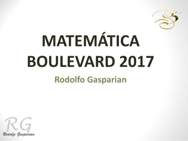 Matematica Boulevard Monde 2017
