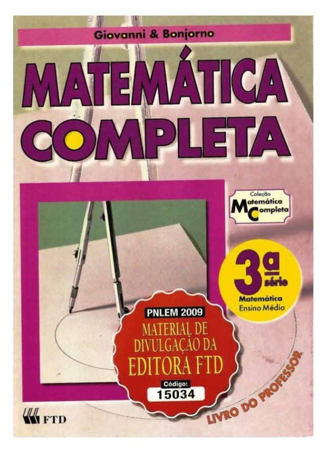 Matematica completa giovanni amp bonjorno livro do professor fandeluxe Gallery