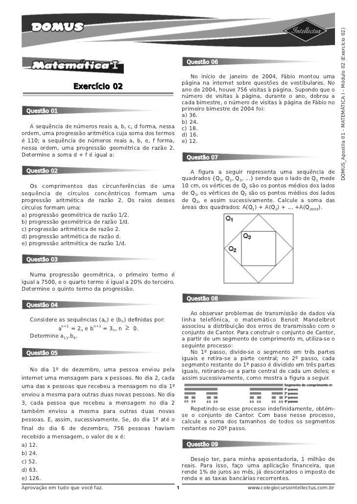 DOMUS_Apostila 01 - MATEMÁTICA I - Módulo 02 (Exercício 02)                                                               ...
