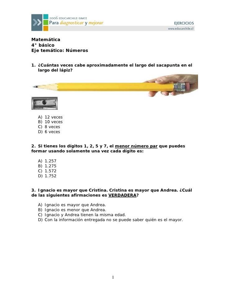 Matemática 4° básico Eje temático: Números   1. ¿Cuántas veces cabe aproximadamente el largo del sacapunta en el    largo ...