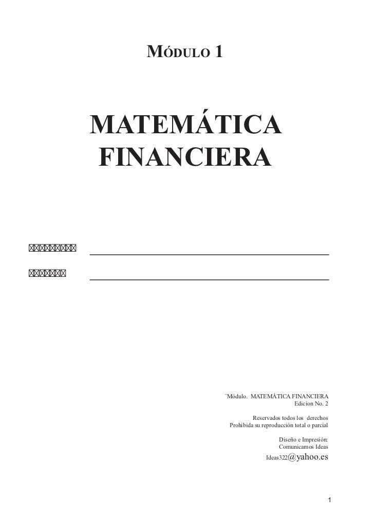 Módulo 1            MATEMÁTICA            FINANCIERA                         ¨Módulo. MATEMÁTICA FINANCIER...