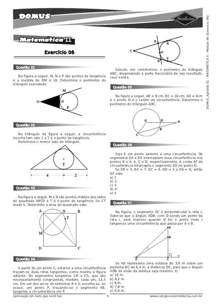 DOMUS_Apostila 01 - MATEMÁTICA II - Módulo 46 (Exercício 06)                   Exercício 06 Questão 01                    ...