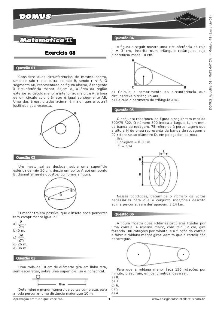 DOMUS_Apostila 01 - MATEMÁTICA II - Módulo 48 (Exercício 08)                                                              ...