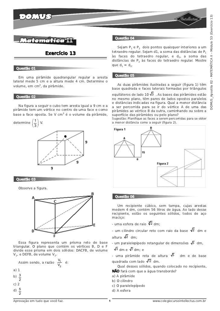 DOMUS_Apostila 02 - MATEMÁTICA II - Módulo 53 (Exercício 13)                                                              ...