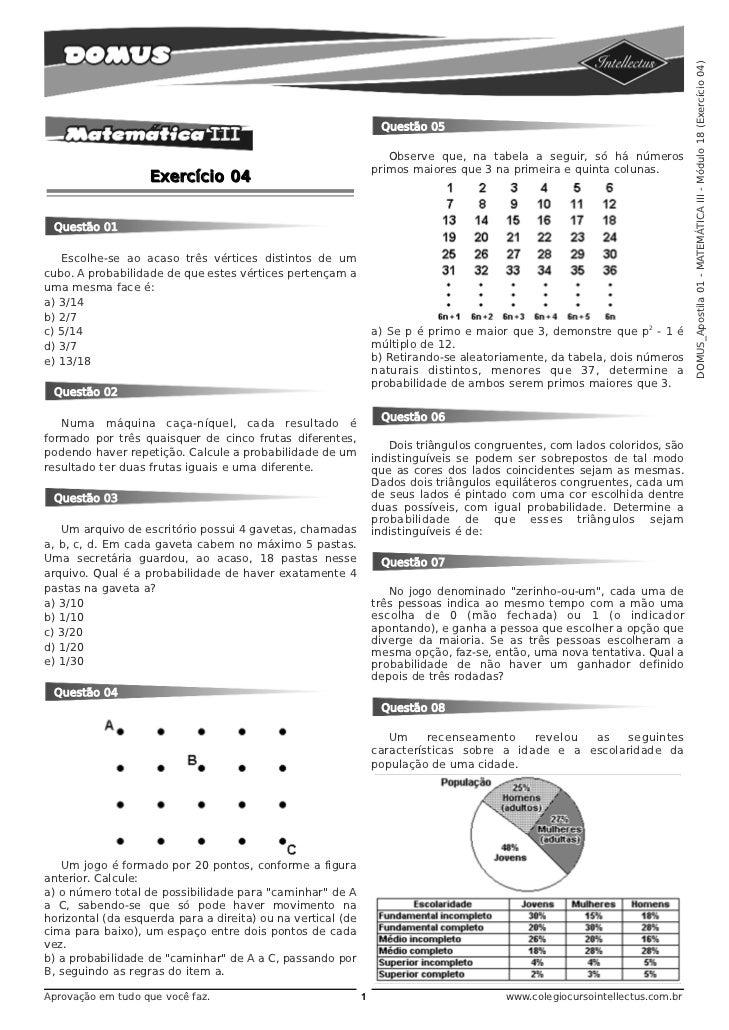 DOMUS_Apostila 01 - MATEMÁTICA III - Módulo 18 (Exercício 04)                                                             ...