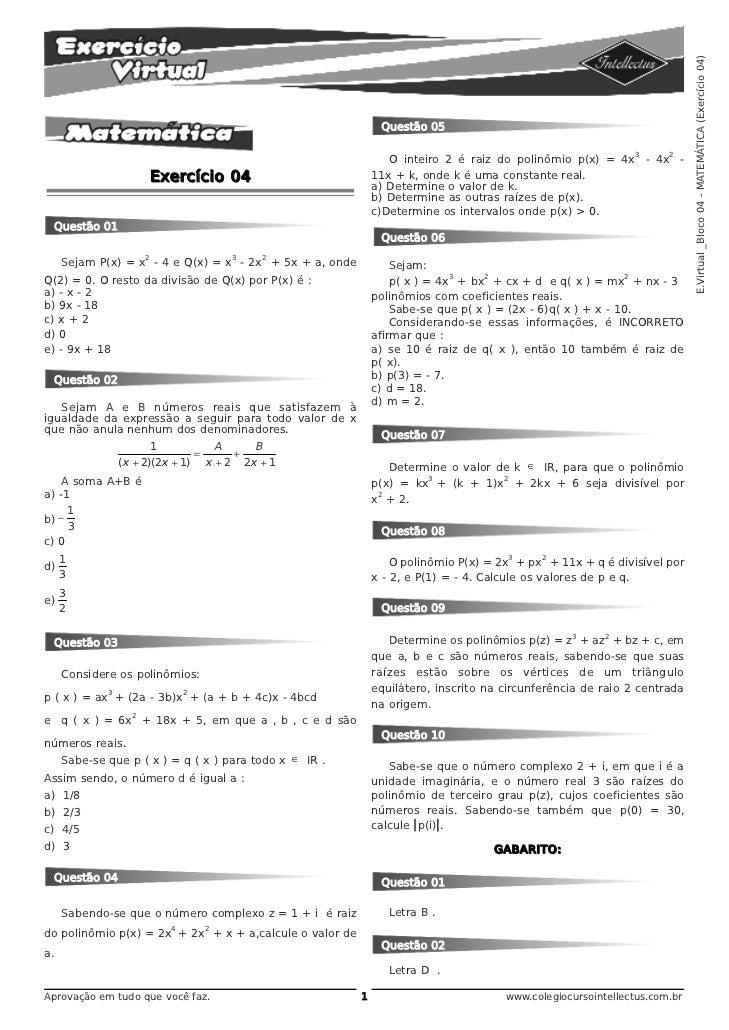 E.Virtual _Bloco 04 - MATEMÁTICA (Exercício 04)                                                              Questão 05   ...