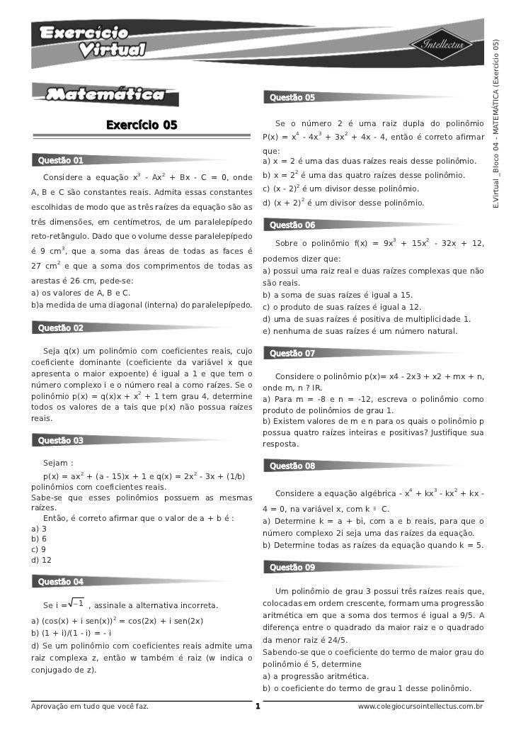 E.Virtual _Bloco 04 - MATEMÁTICA (Exercício 05)                                                               Questão 05  ...