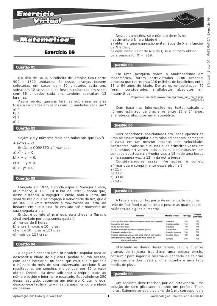 E.Virtual _Bloco 04 - MATEMÁTICA (Exercício 09)                                                                  Nessas co...