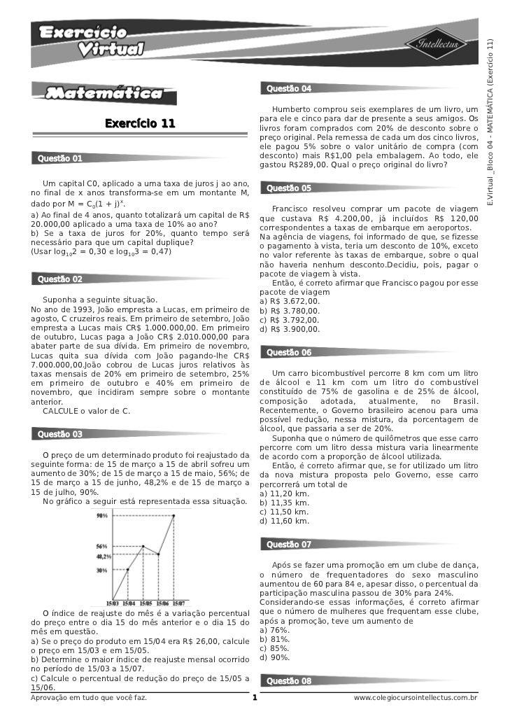 E.Virtual _Bloco 04 - MATEMÁTICA (Exercício 11)                                                                 Questão 04...