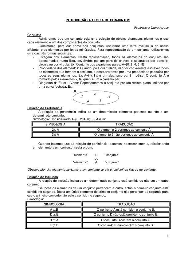 1 INTRODUÇÃO A TEORIA DE CONJUNTOS Professora Laura Aguiar Conjunto Admitiremos que um conjunto seja uma coleção de objeto...
