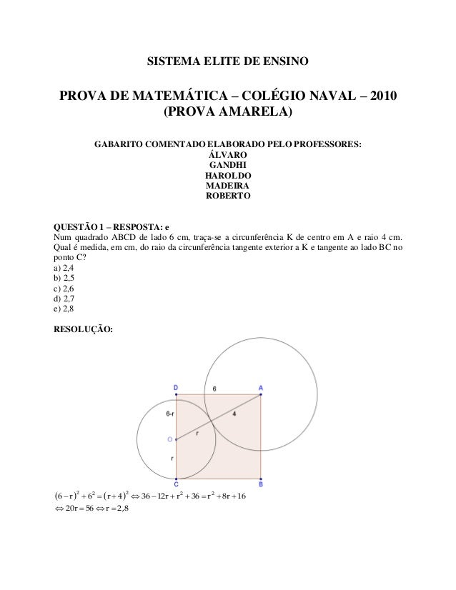 SISTEMA ELITE DE ENSINOPROVA DE MATEMÁTICA – COLÉGIO NAVAL – 2010(PROVA AMARELA)GABARITO COMENTADO ELABORADO PELO PROFESSO...