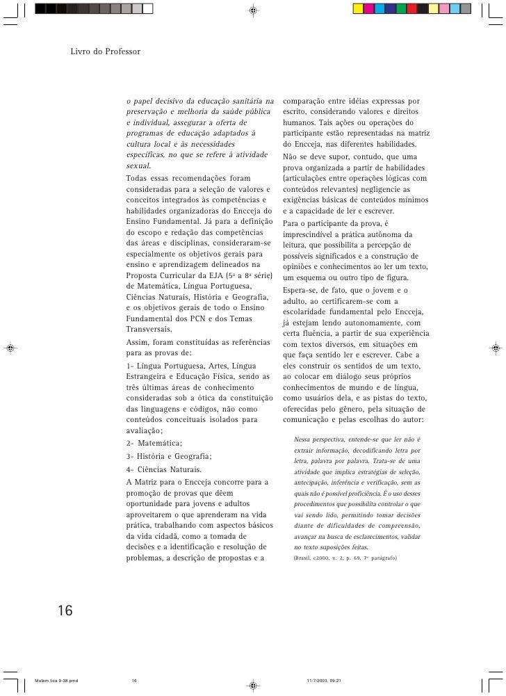 Livro do Professor                                  o papel decisivo da educação sanitária na    comparação entre idéias e...