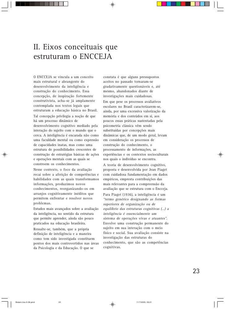 II. Eixos conceituais que                  estruturam o ENCCEJA                   O ENCCEJA se vincula a um conceito      ...