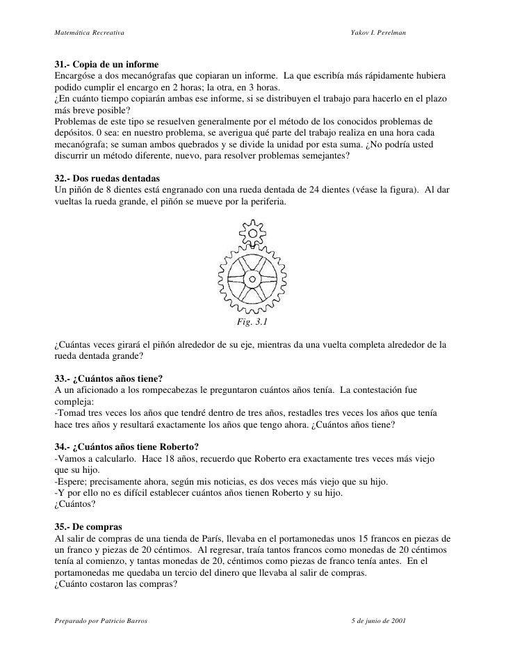 Matemática Recreativa                                                      Yakov I. Perelman    31.- Copia de un informe E...