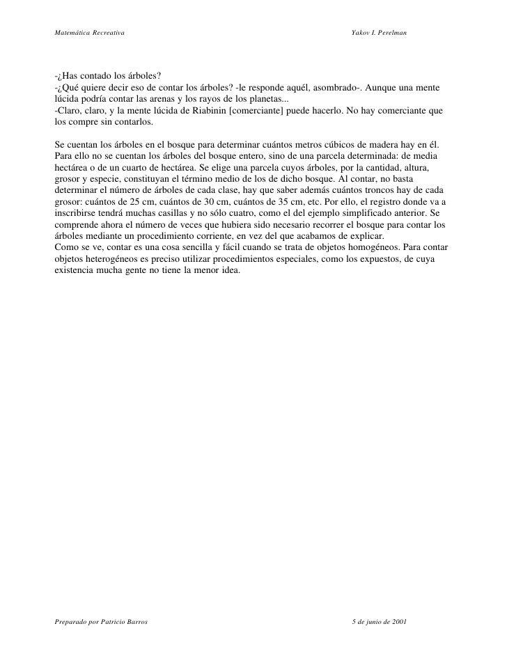 Matemática Recreativa                                                     Yakov I. Perelman     -¿Has contado los árboles?...