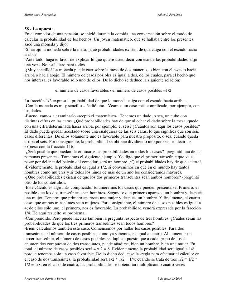 Matemática Recreativa                                                        Yakov I. Perelman    58.- La apuesta En el co...