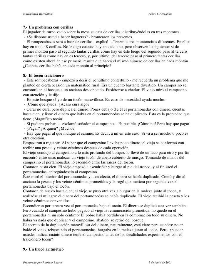 Matemática Recreativa                                                      Yakov I. Perelman    7.- Un problema con cerill...