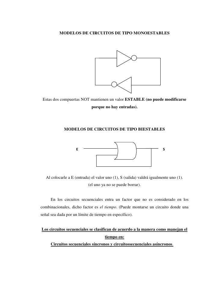 MODELOS DE CIRCUITOS DE TIPO MONOESTABLES Estas dos compuertas NOT mantienen un valor ESTABLE (no puede modificarse       ...