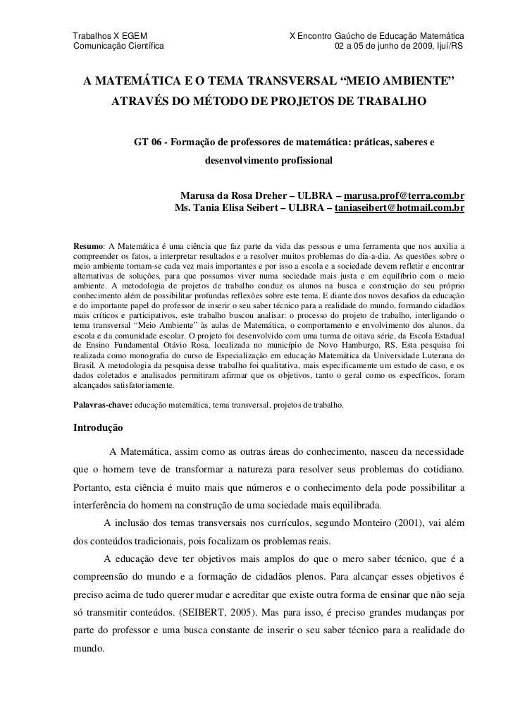 Trabalhos X EGEM                                             X Encontro Gaúcho de Educação MatemáticaComunicação Científic...