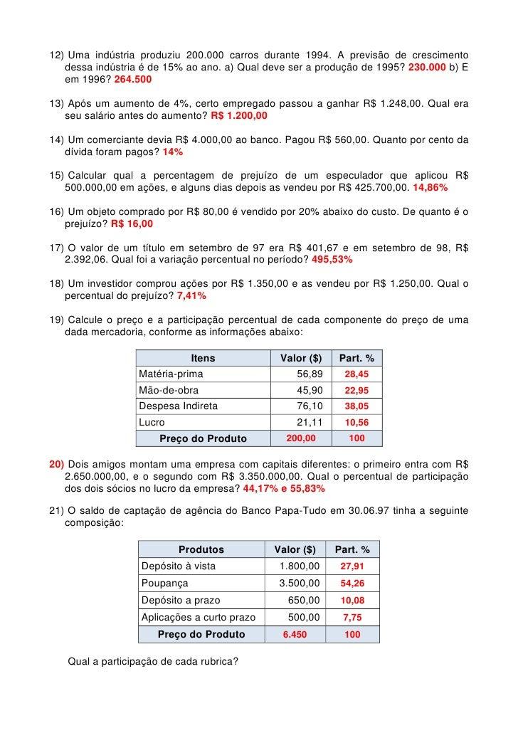 Muitas vezes Matematica exercicios porcentagem gabarito MK35