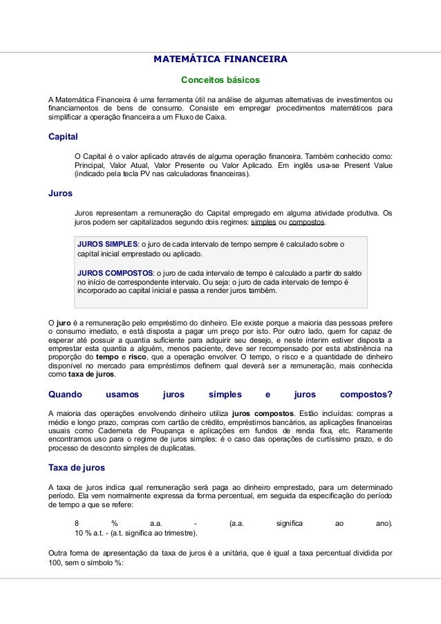MATEMÁTICA FINANCEIRA                                            Conceitos básicosA Matemática Financeira é uma ferramenta...