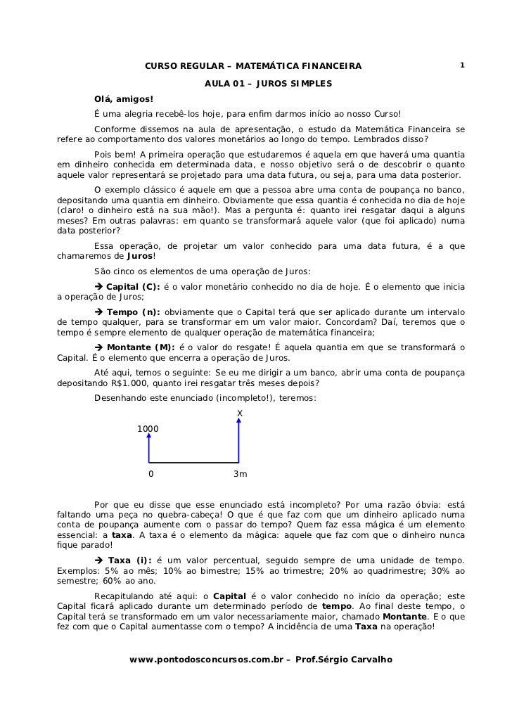 CURSO REGULAR – MATEMÁTICA FINANCEIRA                                   1                                  AULA 01 – JUROS...