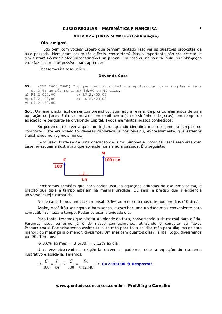 CURSO REGULAR – MATEMÁTICA FINANCEIRA                                 1                             AULA 02 – JUROS SIMPLE...