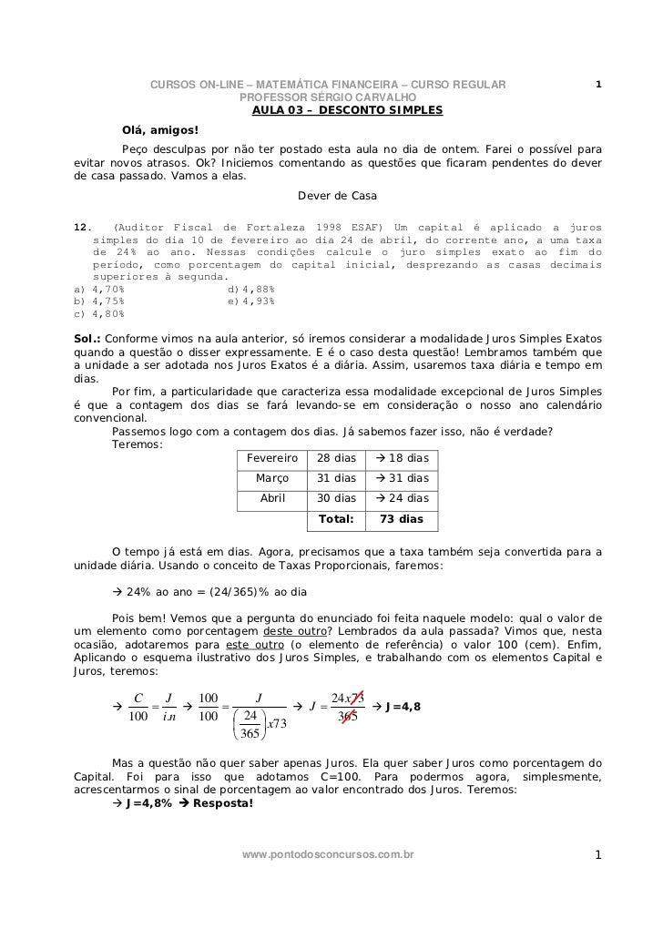 CURSOS ON-LINE – MATEMÁTICA FINANCEIRA – CURSO REGULAR                         1                          PROFESSOR SÉRGIO...
