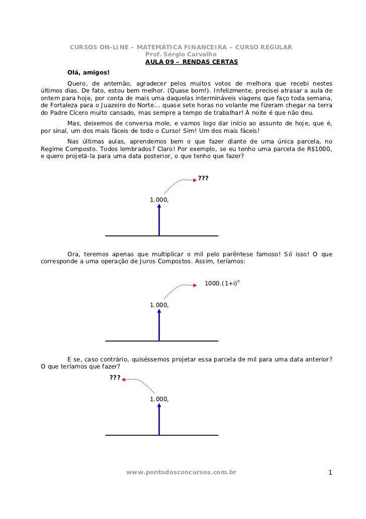 CURSOS ON-LINE – MATEMÁTICA FINANCEIRA – CURSO REGULAR                            Prof. Sérgio Carvalho                   ...
