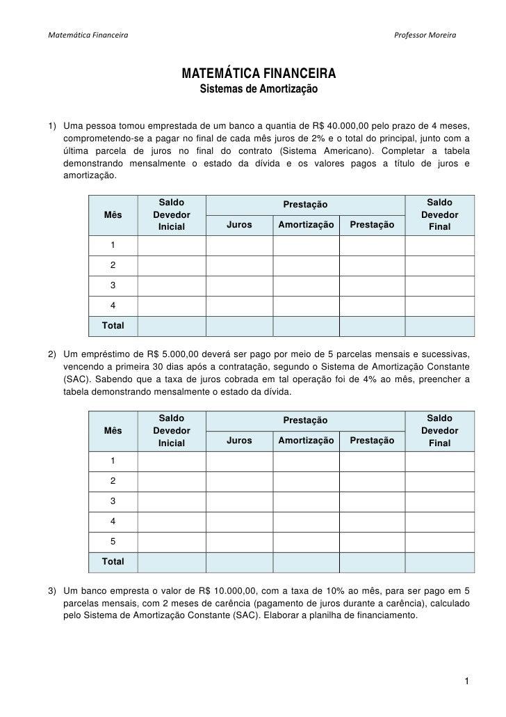 Matematica lista amortizacao