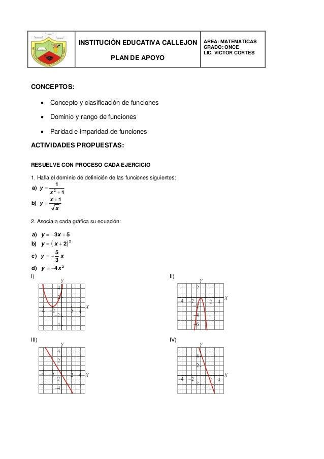 INSTITUCIÓN EDUCATIVA CALLEJON PLAN DE APOYO AREA: MATEMATICAS GRADO: ONCE LIC. VICTOR CORTES CONCEPTOS:  Concepto y clas...