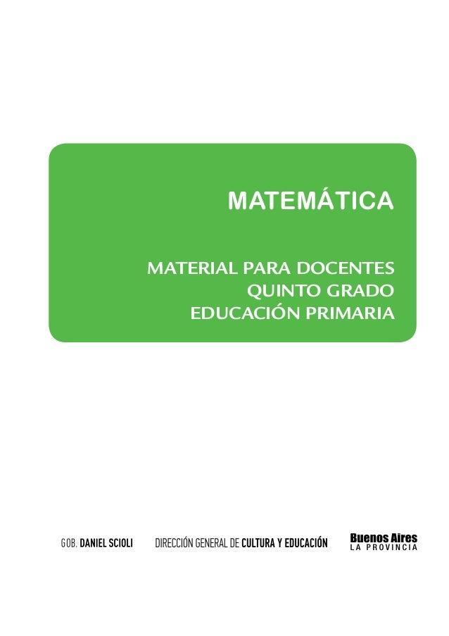 MATEMÁTICAMATERIAL PARA docentes         quinto grado   educación PRIMARIa
