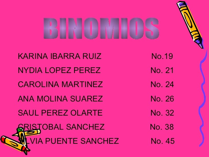 BINOMIOS KARINA IBARRA RUIZ  No.19 NYDIA LOPEZ PEREZ  No. 21 CAROLINA MARTINEZ  No. 24 ANA MOLINA SUAREZ  No. 26 SAUL PERE...