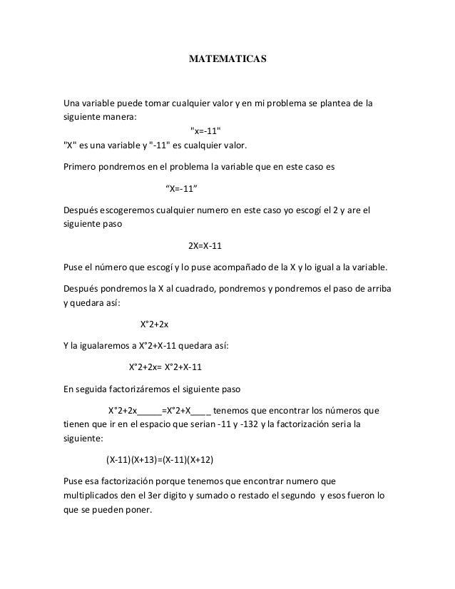 """MATEMATICAS Una variable puede tomar cualquier valor y en mi problema se plantea de la siguiente manera: """"x=-11"""" """"X"""" es un..."""