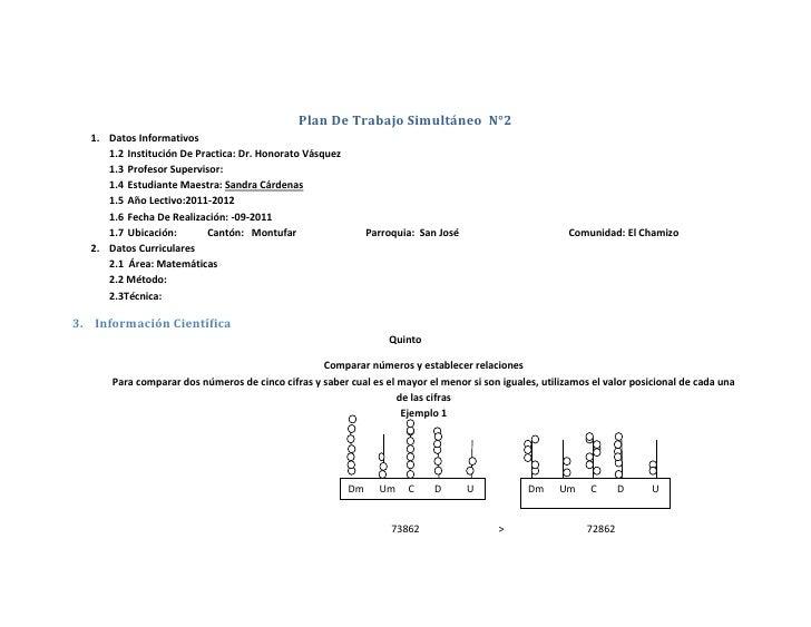 Plan De Trabajo Simultáneo  N°2<br />Datos Informativos<br />Institución De Practica: Dr. Honorato Vásquez <br />Profesor ...