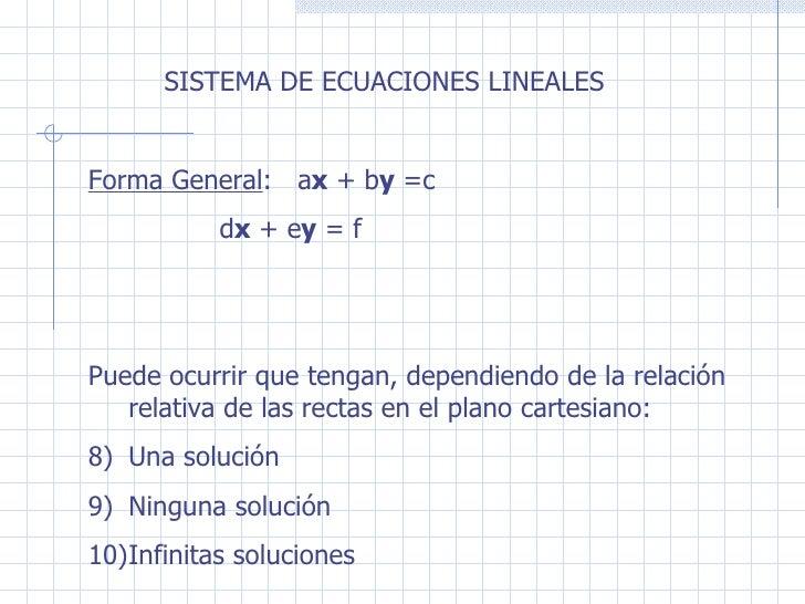 <ul><li>SISTEMA DE ECUACIONES LINEALES </li></ul><ul><li>Forma General :  a x  + b y  =c </li></ul><ul><li>  d x  + e y  =...