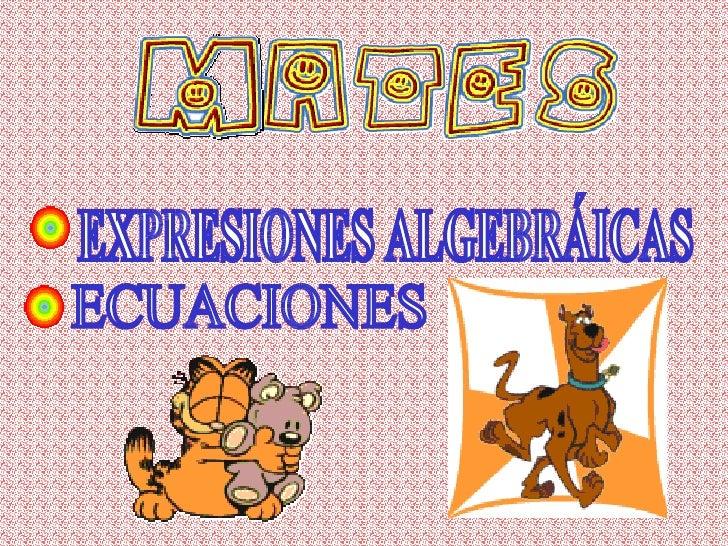 EXPRESIONES ALGEBRÁICAS ECUACIONES