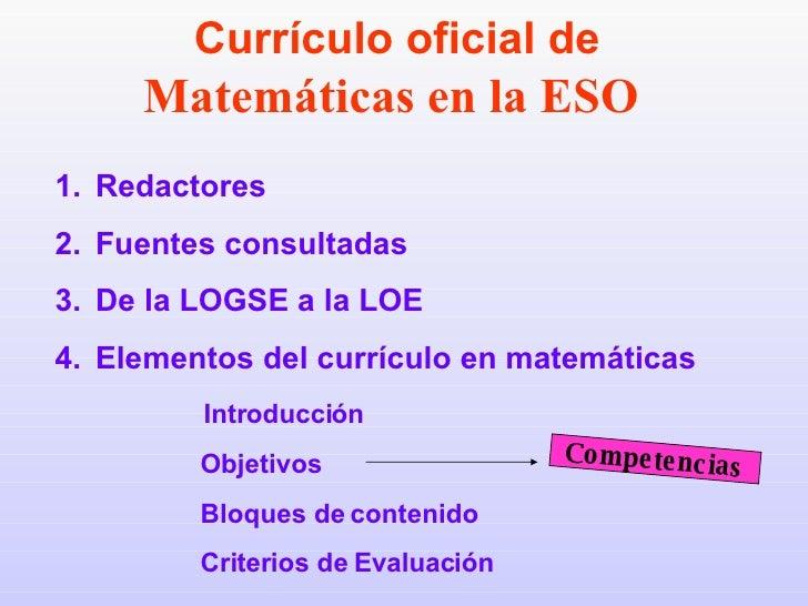 <ul><li>Redactores </li></ul><ul><li>Fuentes consultadas </li></ul><ul><li>De la LOGSE a la LOE </li></ul><ul><li>Elemento...