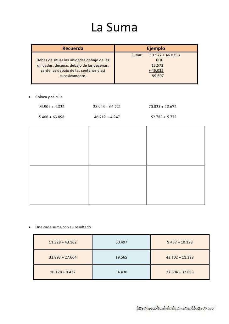 Matematicas 4 primaria, calculo operaciones