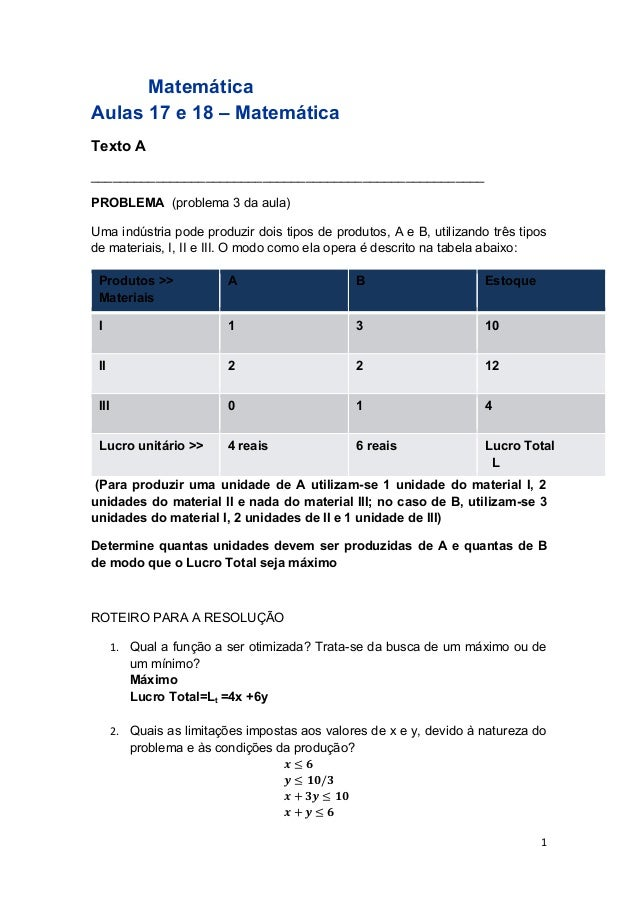 1  Matemática  Aulas 17 e 18 – Matemática  Texto A  _______________________________________________________  PROBLEMA (pro...
