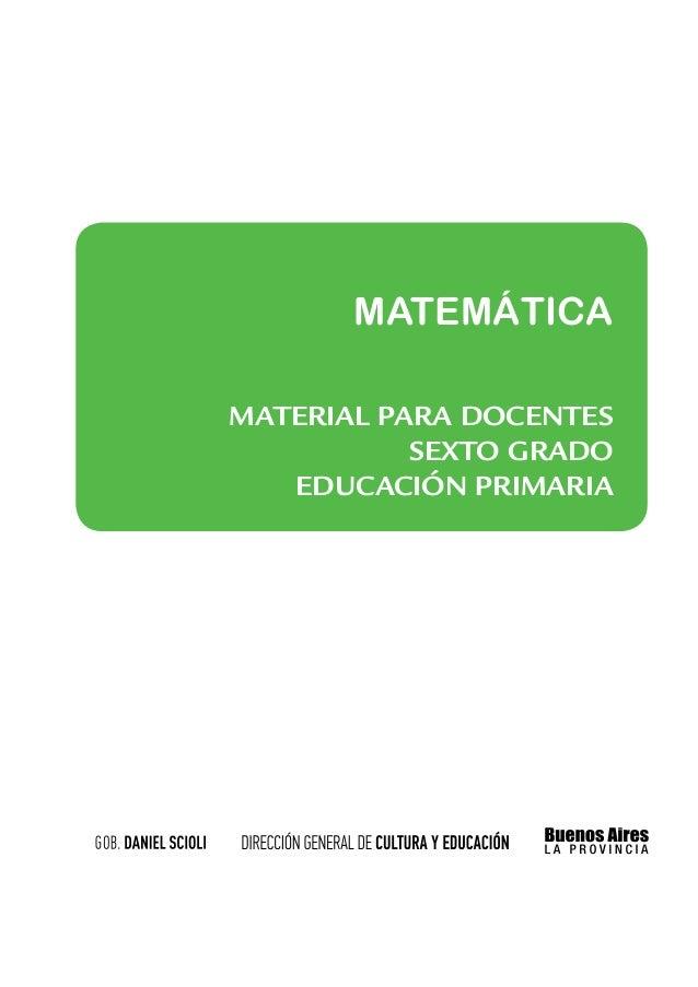 MATEMÁTICAMATERIAL PARA docentes           sexto grado   educación PRIMARIa