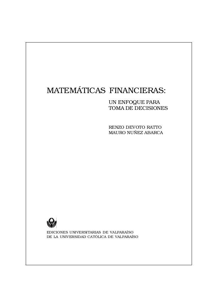 CAPÍTULO 1 / INTRODUCCIÓNMATEMÁTICAS FINANCIERAS:                              UN ENFOQUE PARA                            ...
